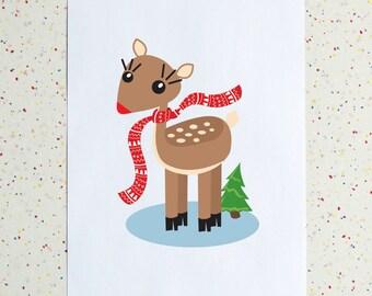Winter Christmas Deer Downloadable Print, Printable PDF, Holiday Decor, Holiday Art