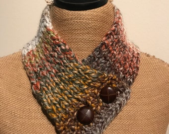 Hand Knitted Buttoned Neck Warmer in Wool Ease Thick & Quick Item# KNW322182