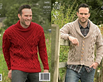 King Cole Knitting Pattern 3602~Man's Cabled Sweater & Cardigan~Aran~38-46""