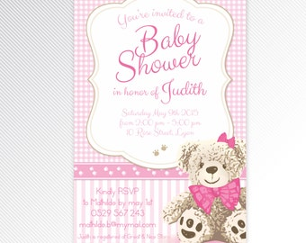 Pink teddy bear baby shower printable invitation