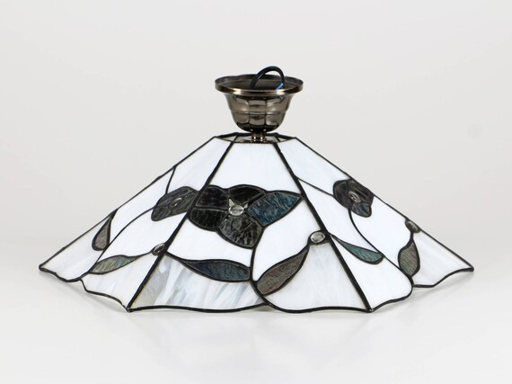 60er Tiffany Lampe, Honsel Hängelampe, Glas Deckenleuchte, Honsel Germany  Lampe