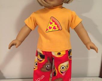 American girl 18 inch doll emoji two piece pajama set