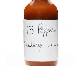 HOT SAUCE - Strawberry-Licorice. Level of heat: 3/5