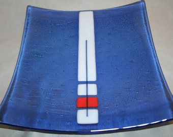 Square glass platter in an abstract pattern (PL-32)