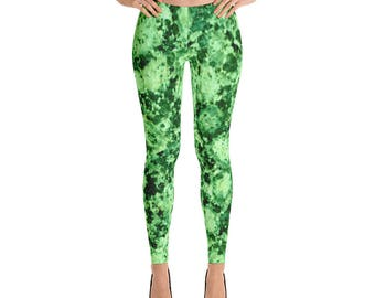 Leggings,Marble,Green,Womens,Yoga,Workout,Tights,Pants,Stretch,Spandex,Print,Pattern,Stretchy,Clothing,Fashion,Unique,Printed,Design