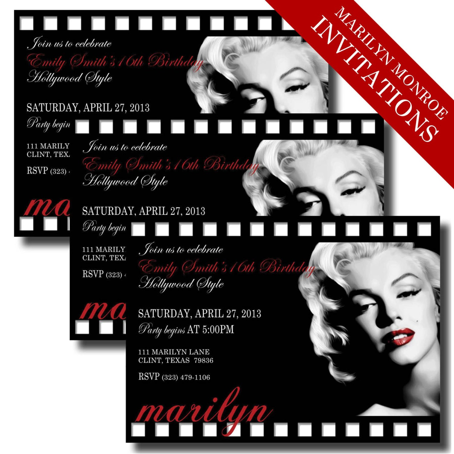 Marilyn Monroe Invitations Printable Hollywood Movie