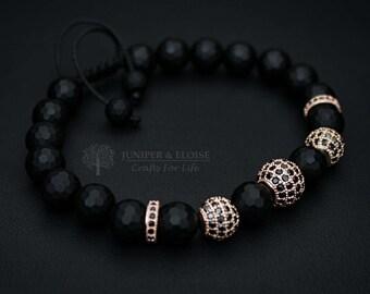 Mens Bracelet, Matte, Womens Jewelry, Black Bracelet, Armband, Zircon Bracelet, Disco Ball Bracelet, Luxury Gear, Braccialetto, Pulsera