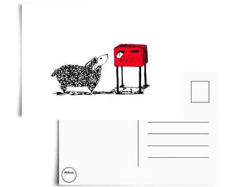 The little sheep and the mail - Postcard