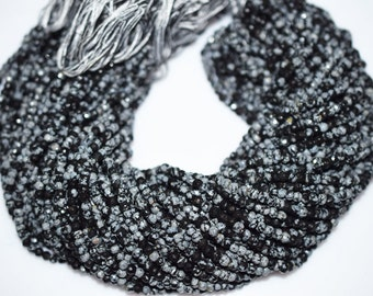 Good Quality Natural Black Obsidian Rondelle Beads ,13 Inch Strand ,Black Obsidian Faceted Rondelle Beads , 4.50 mm - MC087