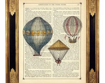Airship Hot Air Balloons Image Steampunk Poster - Vintage Victorian Book Page Art Print