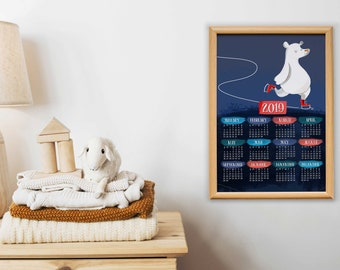2019 Polar bear printable calendar for nursery, one page calendar, 2019 calendar, digital download, nursery print, printable poster