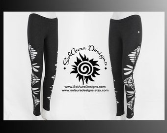 STARDUST - Womens / Juniors Cut Up, Shredded and Weaved Dark Grey Leggings, Club Wear, Sexy Wear, Festival Wear