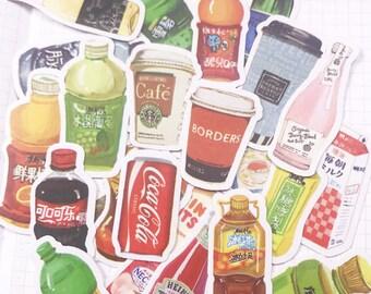 28 PCS, Soda sticker, Coke sticker, Soft Drink stickers, Starbucks sticker, Sticker Flake, Food sticker, Coffee sticker, Soda, SK 8