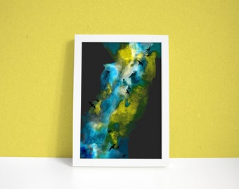 Aurora Art Print - Aurora - Northern Lights - Birds - Bird Illustration - Arctic - Lights - A3 Art Print