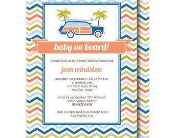Surfer Baby Shower Invitation: Baby on Board