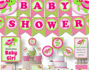 Turtle Baby Shower Decorations or Birthday Party Pink Printable - Banner, Invitations, Cake Topper, Centerpiece, Cupcakes,  - diy, pdf