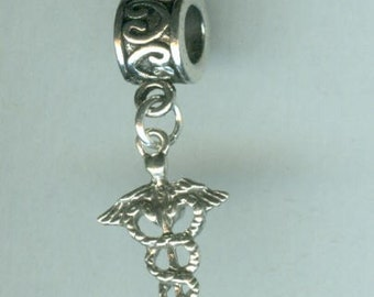 Sterling CADUCEUS Bead Charm for all Name Brand Add a Bead Bracelets  - Medical