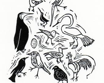 Bird Wallpaper original lino print - handmade, swan, penguin, birds, chicken, quail, black and white, lino cut, home interiors, nature,