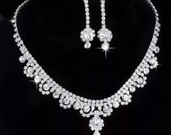 CHOKER//The Diamond Collection// The Natalia//sparkly Jewel Choker & Earrings// Free Shipping