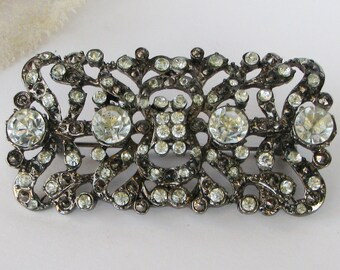 Vintage Rhinestone Brooch, Art Deco Style, Faux Marcasite, Silver Tone Metal, Ornate Brooch, Filigree Brooch, Clear Rhinestones, 60s Brooch