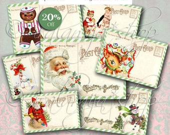 CHRISTMAS POSTCARDS Collage Digital Images -printable download file-