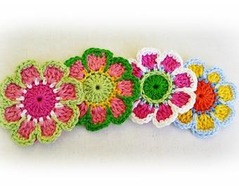 6 Enchantée Crochet Flowers- Colorful