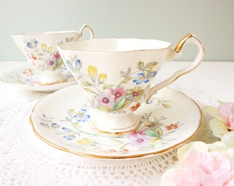 Vintage Royal Stafford Bideford tea cup and saucer, Bone China England