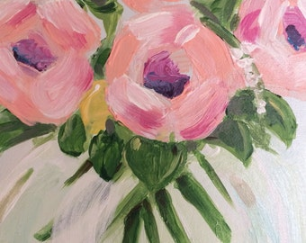 Small acrylic flower vase painting 14 x 11 on canvas by Melissa Meeks