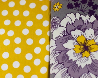 You Choose Your Cap! Yellow and Plum Floral with White Polka Dots on Yellow
