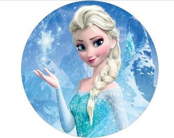 Frozen Elsa wafer cake topper digital file