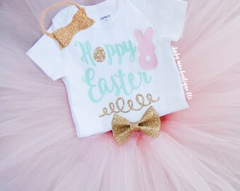 First Easter Outfit, Hoppy Easter Bodysuit; Baby Girl Tutu Easter Outfit; Baby Girl Easter Dress; My 1st Easter bodysuit Tutu and Headband