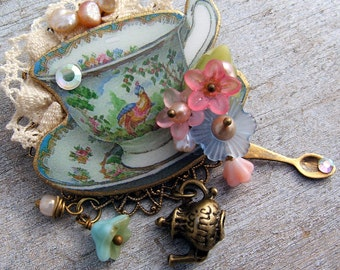 Turquoise Tea Cup Brooch, Brooch, Teacup Brooch, Tea Party Jewelry, Teacup  Pin, Floral Tea Cup Pin