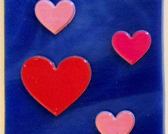 FOUR HEARTS  NIGHTLIGHT Decoupage Blue Night Light V01
