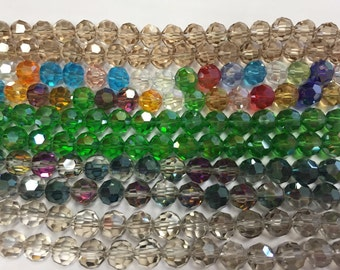Round crystal beads,glass, 36 cut faceted, 8mm, 40beads