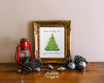 Christmas wall art printable winter decor holiday decoration print INSTANT DOWNLOAD Christmas art print poster how lovely are your branches
