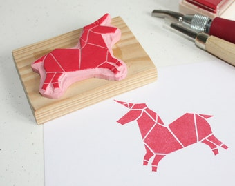 Hand-carved rubber stamp - Origami Unicorn