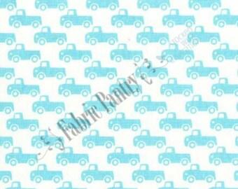 Tiny Trucks ~ Quilt Fabric ~ Michael Miller ~ Aqua ~ CX6358-BOYX-D ~ 1/2 Yard