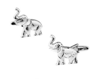 Elephant Silver Tone CuffLinks - Best Gift For Dad - Groomsmen Cufflinks - Groomsmen Gifts - Gifts for Him -  Jewelry For Men