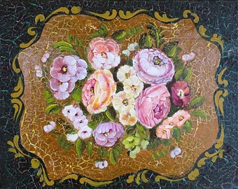 Chippendale Floral Painging, Flower Painting, mixed media painting