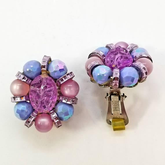 Vintage Hobe Pink and Lavender Beaded Clip Earrings