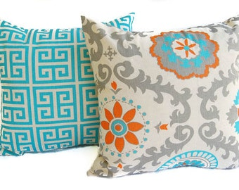 """Throw pillow covers set of two 18"""" x 18"""" cushion covers Orange Natural Aqua Blue Gray dosset"""