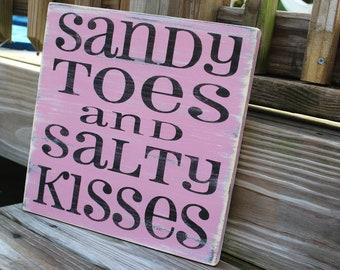 Beach Sign Sandy Toes Salty Kisses Coastal Beach House Nautical Decor Nursery Decor PINK
