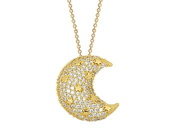 Stars on Crescent Moon 14k Solid Gold Necklace