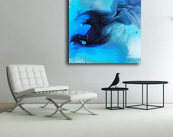 Abstract painting on Plexiglas, blue acrylic Print, high gloss print, Large Abstract Print on Acrylic Glass, abstract wall art, modern art