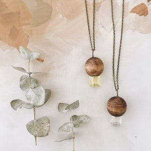 The original wood and glass essential oil rollerball necklace
