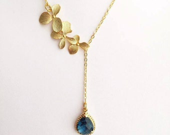 Gold Orchid Sapphire Blue Drop Necklace. Blue Sapphire. Dark Blue. Bridesmaid Necklace. Bridal Jewelry. Bridesmaid Gift. Wedding Jewelry.Mom