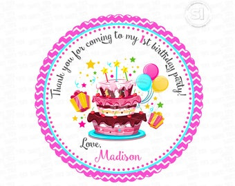 "Custom Thank you Birthday Cake-Balloons-Gifts- 2.5"" Printable Tags-PRINTABLE Thank you Tag-Sweet Birthday DIY Personalized tags-Stickers"