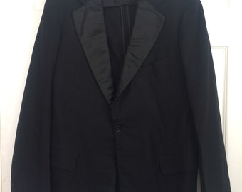 30s Mens Dinner Jacket Tuxedo Jacket Robert Wicks Vintage Satin Wool 38