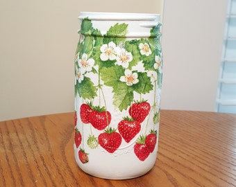 Strawberry Mason Jar Decor,Decoupag & Hand Painted,Mason Jar Vase Centerpieces,Utensil Holder,Kitchen Decor,Cottage Decor,Mother's Day Gift