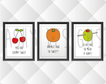 SET OF 3 - 8x10 Prints - Cute Fun Fruit Vegetable Puns - Wall Art Gift Idea for Wedding Anniversary Birthday Engagement - Home Decor - FVS03